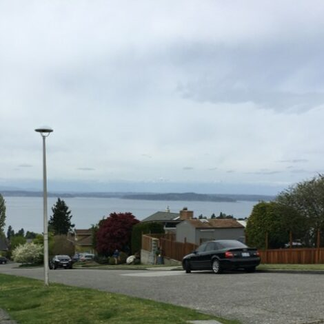 Puget Sound and the tippy tops of the Olympics