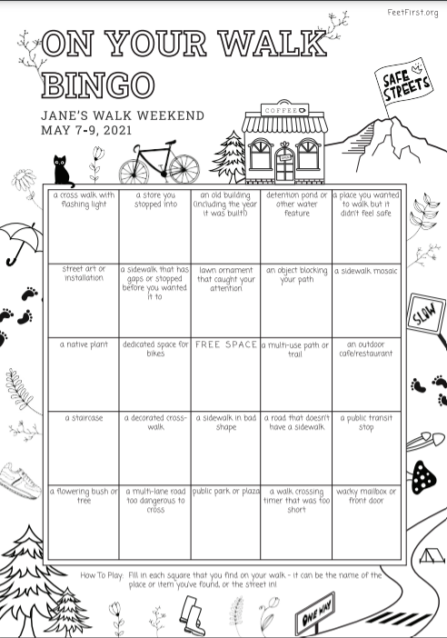 Bingo card with drawings and descriptions of things found on a walk in an urban area